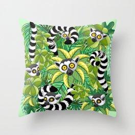 Lemurs on Madagascar Rainforest Throw Pillow