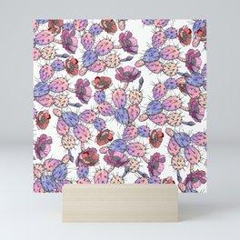 Modern vintage pink lavender watercolor cactus floral Mini Art Print