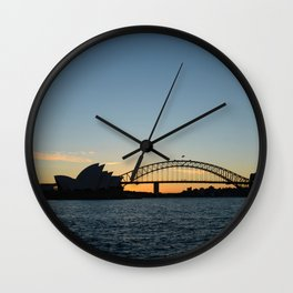 Sydney at sunset Wall Clock