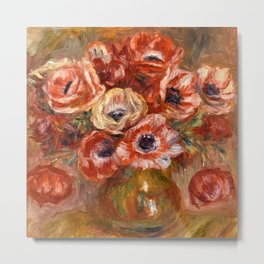 "Auguste Renoir ""Anémones dans un vase"" Metal Print"