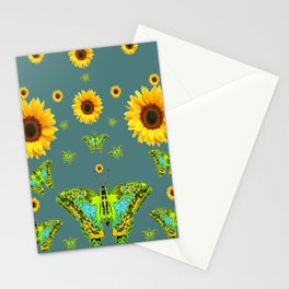 SUNFLOWERS & GREEN MOTHS ABSTRACT ART Stationery Cards
