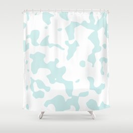Large Spots - White and Light Cyan Shower Curtain