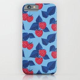 Raspberry on blue background iPhone Case