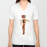 tina fey V-neck T-shirts featuring Tina Television by Marko Köppe