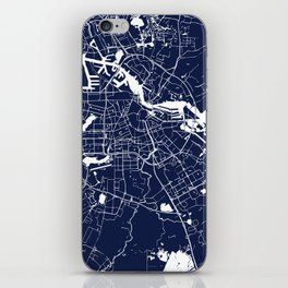 Amsterdam Navy Blue on White Street Map iPhone Skin