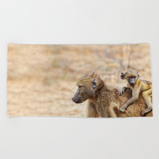 Cute monkey baby and mother Beach Towel