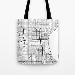Milwaukee Map, USA - Black and White Tote Bag