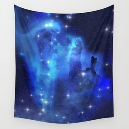 Blue Space Cloud Wall Tapestry