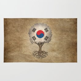 Vintage Tree of Life with Flag of South Korea Rug