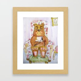 Hazel, tea time bear Framed Art Print