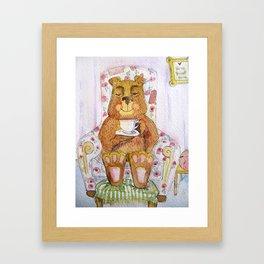 Hazel, tea time bear Framed Art Print