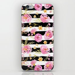Delicate Poppy Pattern On Stripes 2 iPhone Skin