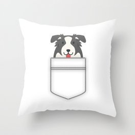 Border Collie In Pocket Throw Pillow
