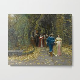 The Lovers (Les Fiances) Amazing Landscape Painting by Firmin-Girard Metal Print