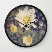 vintage flowers Wall Clocks featuring Vintage flowers by Herzensdinge
