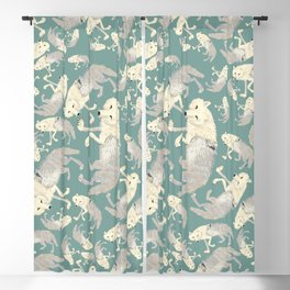 Totem Artic Wolf Turquoise Blackout Curtain