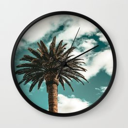 Lush Palm {1 of 2} / Teal Blue Sky Tree Leaves Art Print Wall Clock