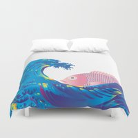 hokusai Duvet Covers featuring Hokusai Rainbow & Jpanese Snapper  by FACTORIE