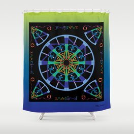 Imagine from the Inside - Black/ Blue Green Shower Curtain