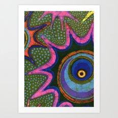 Starburst and polkadots batik Art Print