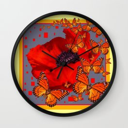 Abstract Red Poppy Monarch Butterflies Yellow-Grey Wall Clock
