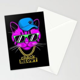 Check Meowt Bling Stationery Cards