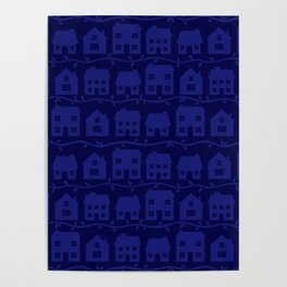 Cottage Charm in Navy Blue Poster