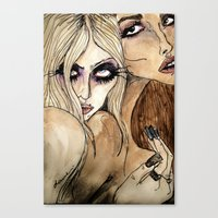jenna kutcher Canvas Prints featuring Taylor & Jenna by Lucas David