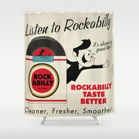 rockabilly Shower Curtains featuring Listen to Rockabilly by Nano Barbero