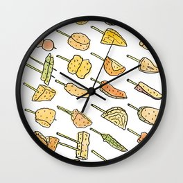 World of Japanese Kushikatsu Skewers Wall Clock