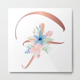 Monogram Copper Floral Letter F Metal Print