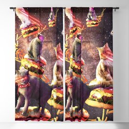 Galaxy Laser Cat On Burger - Space Cheeseburger Cats with Lazer Blackout Curtain