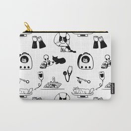Dr Fluffton's cat clinic day Black and White Carry-All Pouch