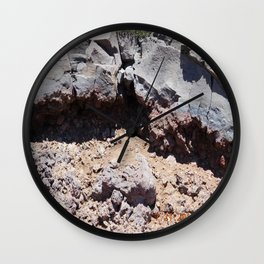 road trip, lava destruction, melted rock, landscape Wall Clock