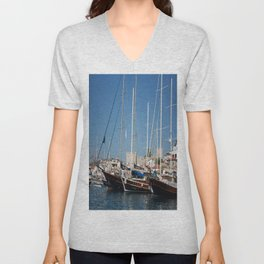 Traditional Turkish Gulets In Marmaris Harbour Unisex V-Neck