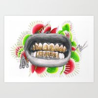 asap rocky Art Prints featuring ASAP Rocky Grill by Angie Crabtree