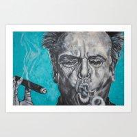 jack nicholson Art Prints featuring Jack Nicholson by Lisa Cunningham Art