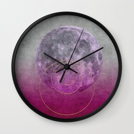 Pink Moon geometric circle mixed media Wall Clock