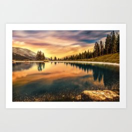 Lake Mountains and Sunset Art Print