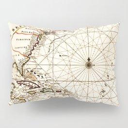 Vintage Atlantic Ocean Map Pillow Sham