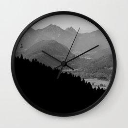 Grey mountains Wall Clock