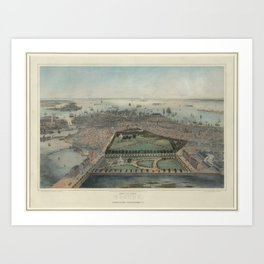 Vintage Pictorial Map of Boston MA (1850) Art Print
