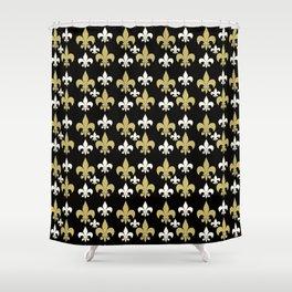 Fleur de lis..gold,black and white Shower Curtain
