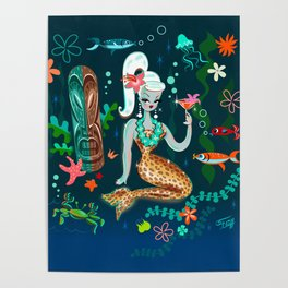 Blonde Leopard Martini Mermaid Poster