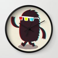 monster Wall Clocks featuring MONSTER 3d by Monster Riot