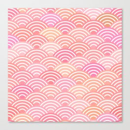 dragon fish scales simple pattern Nature background with japanese wave Canvas Print