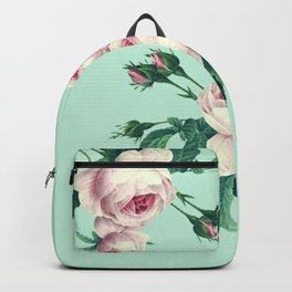 Roses Mint Green + Pink Backpack