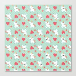 Baby Unicorn with Hearts Canvas Print
