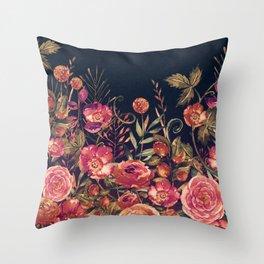 Vintage Garden 3 (Night Flowers) Throw Pillow