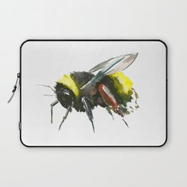 Bumblebee, minimalist bee honey making art, design black yellow Laptop Sleeve